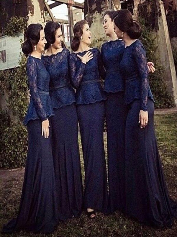 Long Bridesmaid Dress Sleeve Navy Blue Dresses With Lace Mismatched Wedding Party