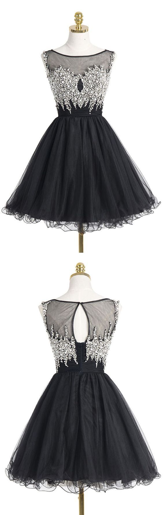 Black Homecoming Dress,Tulle Homecoming Dresses,Short Prom Dress