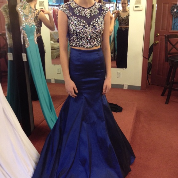 Roayl Blue Mermaid Prom Dress,Two Pieces Prom Dresses, Crew Neck Beading Crystals Evening Dress Party Formal Dress Gowns