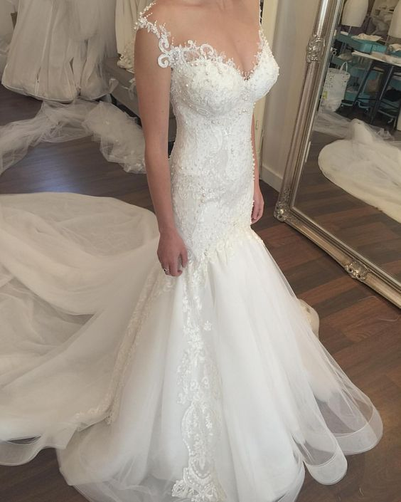 7a8cac1f1348f Sleeveless Lace Appliqués Mermaid Wedding Dress With Long Train on ...