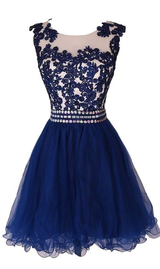 Lovely Navy Blue Short Lace Applique Prom Dresses , Homecoming Dresses, Short Formal Dresses