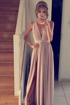 Blush Pink Prom Dresses,A-Line Prom Dress,Simple Prom Dress,Chiffon Prom Dress,Slit Evening Gowns,Cheap Party Dress,Elegant Prom Dresses,Formal Gowns For Teens