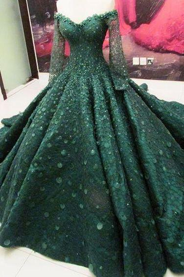 green prom dress,green evening dress, lace prom dress,ball gowns prom dress,off the shoulder long sleeves lace prom dress
