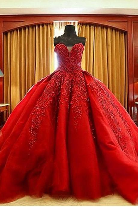 Red Lace Appliques and Beaded Embellished Sweetheart Floor Length Wedding Gown
