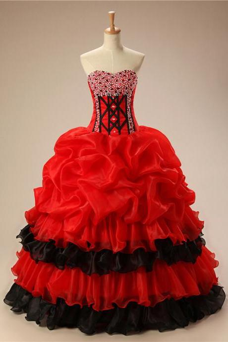 Red Prom Dress,Sweetheart Quinceanera Dresses,2017 Quinceanera Dresses,Princess Quinceanera Dresses,Beading Quinceanera Dresses,Best Quinceanera Dresses