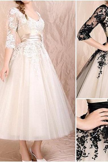 High quality black lace 3/4 sleeves tea length wedding dress,champagne lace appliques bodice puls size custom made short bridal wedding gowns,bridal wedding gown