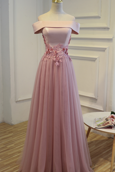 Pink Cheap Long Prom Dress, Party Evening Dress,Boat Neck Lace Up Women Formal Prom Gown Bridesmaid Dresses Real Picture