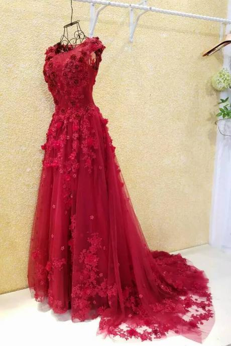 Burgundy Prom Dresses,A-line Evening Dress,Flowers Evening Dress,Applique Evening Dress,Lace Evening Dress,Cheap Evening Dress,Pearls Evening Dress,Evening Dress With Illusion Back,Gorgeous Evening Dress,Glamorous Evening Dresses