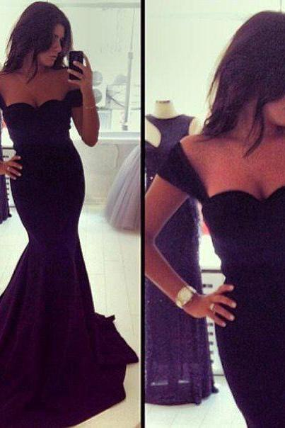 Sexy Black Evening Dress,Mermaid Evening Dress,Sweetheart Evening Dress,Fashion Evening Dress ,Floor Length Evening Dress