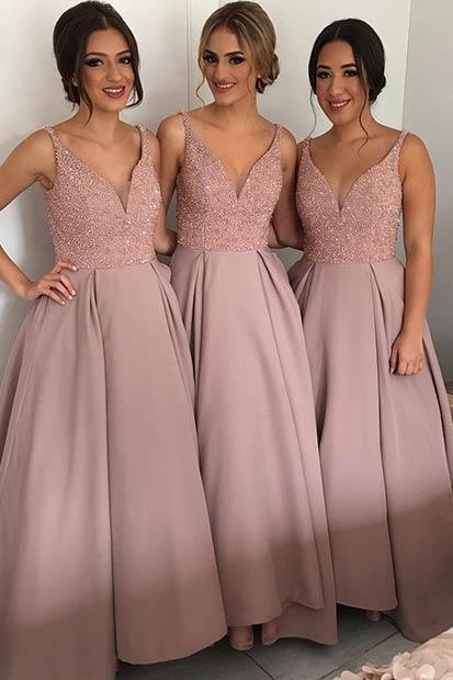 V-Neck Beading bridesmaids dresses, Sexy Mismatched bridesmaid dress, Cheap bridesmaid dresses,Bridesmaid Dresses