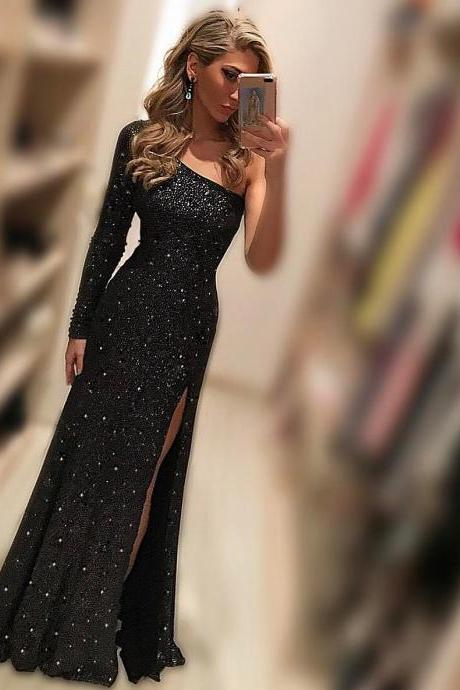 Black Evening Dresses,One Shoulder Beads and Crystal Evening Party Dress ,Sexy Side Slit Prom Dresses,Formal Dress,Evening Dresses Long