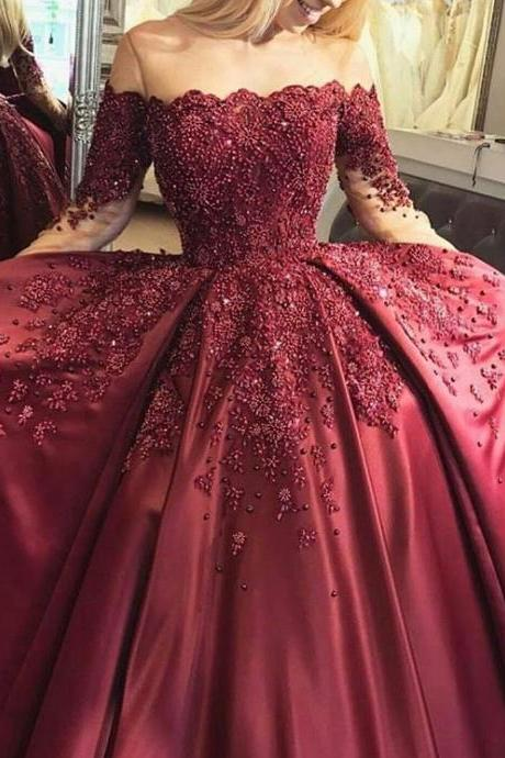 Full Beading Corset Ball Gowns Bridal Dresses with Long Sleeves,Wine Red Bridal Dresses,Satin Wedding Dressses
