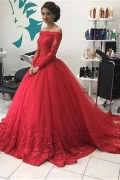 Red Long Sleeves Off-the-Shoulder Lace Natural Ball Gown Tulle Prom Dresses