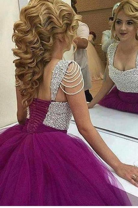 Prom Dresses,Pearls Quinceanera Dresses,Ball Gowns Prom Dresses,Purple Beauty Dresses,Prom Dresses for Engagement