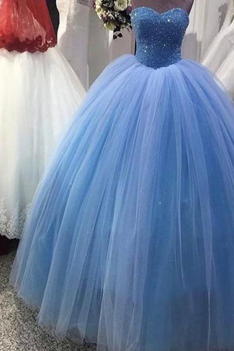 Ball Gown Prom Dresses,Blue Prom Dress,Prom Dress Long,Beads Prom Dress,Sweet 16 Dress