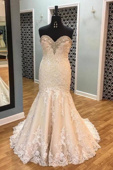 Bridal Dresses,Gorgeous Beading Crystal Mermaid Wedding Dresses with Lace Appliques