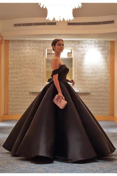 Princess Prom Dress,Luxury Ball Gowns Formal Dresses,Off the Shoulder Black Dubai Evening Dresses