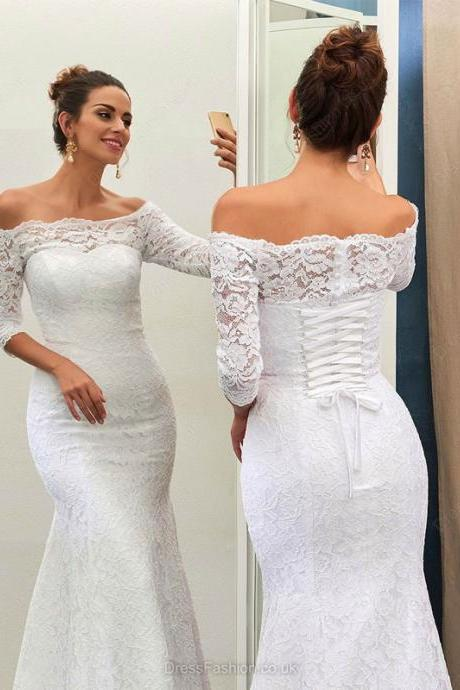 Half Sleeve Lace Wedding Dress,Off the Shoulder White Wedding Dresses,Sexy Mermaid Wedding Gown,Bridal Dresses Plus Size