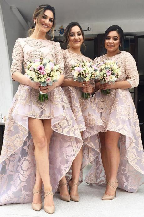 A-Line Bridesmaid Dresses,Bateau Sweep Train 3/4 Sleeves Bridesmaid Dress,High Low Bridesmaid Dresses,Pearl Pink Bridesmaid Dresses,Organza Bridesmaid Dress,Bridesmaid Dress