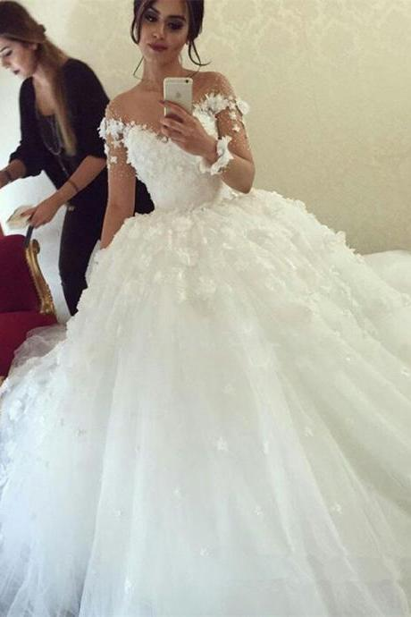 Delicate Illusion Neck Wedding Dress,Long Sleeves Wedding Dresses, Ball Gown Wedding Dress ,White Wedding Dresses with Flowers,Princess Wedding Dresses,Beautiful Wedding Dresses,Wedding Dress