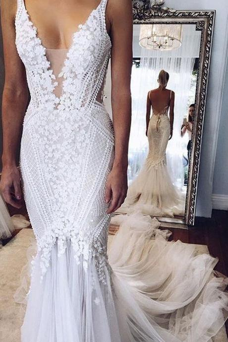 Mermaid Wedding Dresses,Appliques Wedding Dress,Sexy Wedding Dresses,White Wedding Dresses,Beading Bridal Gown,V-neck Wedding Dresses,Wedding Dress