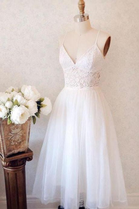 Elegant A-Line Spaghetti Straps V-Neck White Long Homecoming Dress With Lace