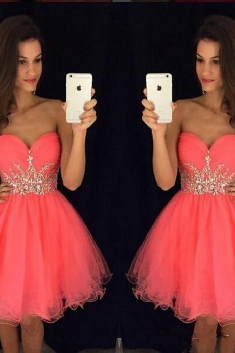 Ball Gown Homecoming Dress, Mini Homecoming Dresses, Beading Homecoming Dress, Cocktail Dress, Short Cocktail Dress, Sweetheart Cocktail Dress