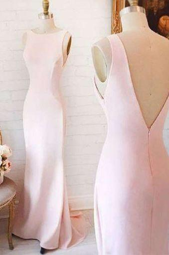 Pink Prom Dress,Mermaid Prom Dresses,Satin Prom Dresses,V Back Prom Dresses,Elegant Formal Gowns,Long Evening Dresses for Women,Prom Dresses 2017 Long Sexy