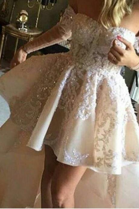 High Low Prom Dresses,Modest Formal Dresses, New Fashion Evening Gown,High Low Lace Evening Dress,Long Evening Gowns