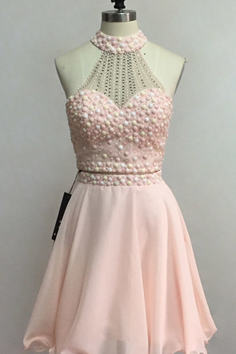 2 Pieces Homecoming Dresses,Prom Dress,Short Homecoming Dress,Crystsla Homecoming Dress,Blush Pink Homecoming Dress,Party Dresses