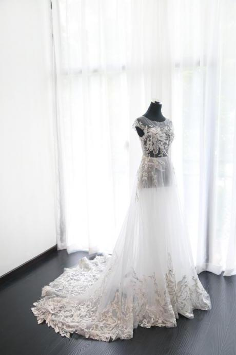 Sexy Wedding Dress, Wedding Dress,Wedding Dress,Wedding Gown,Bridal Gown,Bride Dresses, See Thorugh Wedding Dress,Long Wedding Gown,Embroidery Wedding Dress,A-line Wedding Dress,Backless Wedding Gown,Customized Made
