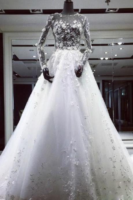 See Through Wedding Dress, Wedding Dresses,Wedding Dress,Wedding Gown,Bridal Gown,Bride Dresses, A-line Bridal Dress,Long Sleeves Bridal Dress,Embroidery Wedding Gown,Flowers Wedding Gown,Sequined Wedding Gown,Muslim Wedding Dress,Tulle Bride Dresses,Crystal Bridal Gown,Sexy Wedding Gown