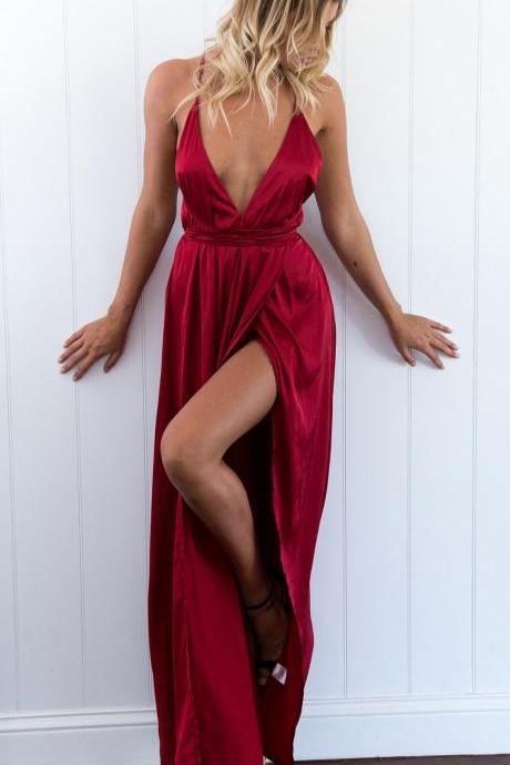 Sexy Red Wine V Neck Prom Dress, Open Back Prom Dress, Sexy Maxi Dress, Slit Prom Dress, Split Prom Dress, Sexy Formal Dress