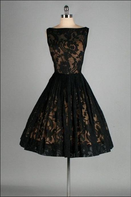 Vintage Prom Dress, Black Lace Prom Gowns, Mini Short Homecoming Dress