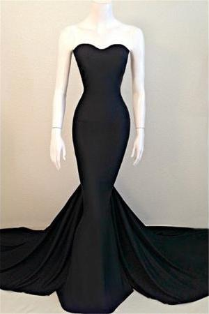 Sexy Mermaid Black Prom Dress,Sweetheart Prom Dresses,Evening Dress Sleeveless Sweep Train Prom Dresses Party Gowns