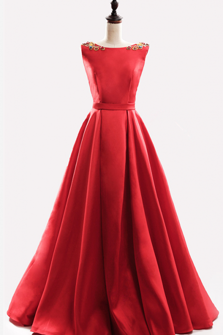 Charming Prom Dress,Sexy Prom Dresses,Long Prom Dresses,red satin long prom dresses