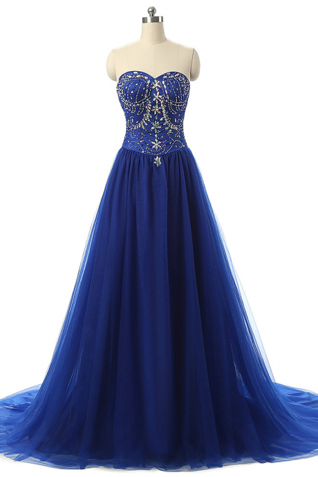 New Arrival Royal Blue Beading Tulle Long Prom Dresses,Pretty Sweetheart Evening Dresses,Custom Formal Prom Dresses