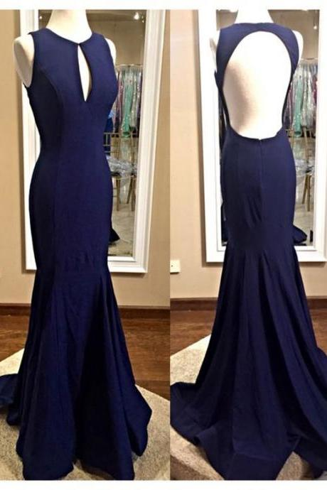 Navy Blue Prom Dress,Scoop Prom Dress,mermaid Party Dress ,Mermaid Prom Dress,Custom Prom Dresses ,Evening dresses, Prom Dresses,Long Prom Dress