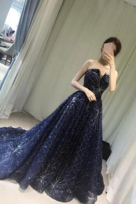 Elegant Sparkle Prom Dress, Long A-line Beaded Prom Dresses, Newest Prom Dresses, Popular Prom Dresses, Cheap Prom Dresses, Prom Dresses