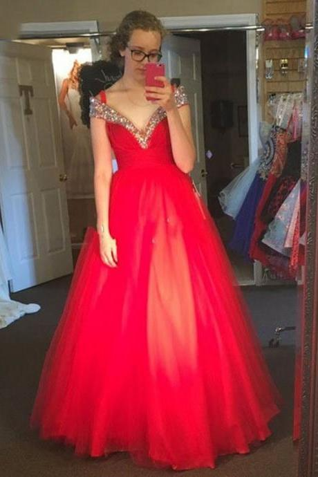 Off The Shoulder Red Prom Dresses, Short Cap Sleeve Long Red Party Dresses, Sexy V Neck Pageant Red Evening Dresses, Luxury Crystal Prom Dresses, Vintage 2017 Red Celebrity Dresses, A Line Cheap Red Tulle Party Dresses,