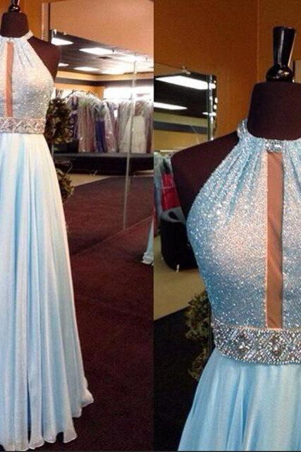 A-line Halter Beads Prom Dress,Long Chiffon Prom Dress, Sky Blue Prom Evening Dress