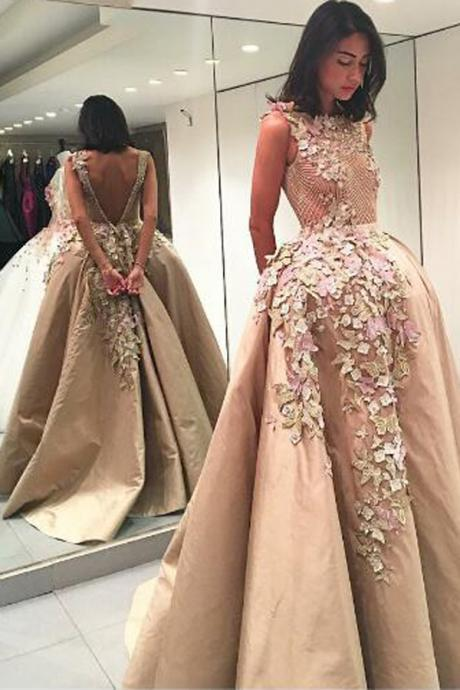 Elegant Bateau Prom Dresses,Backless Floor-Length Appliques Champagne Prom Dress with Lace Top