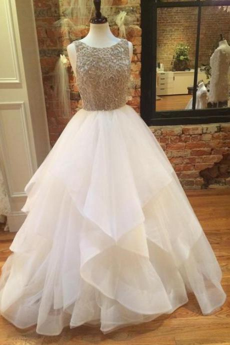 Sleeveless Beaded Ruffle Princess Ball Gown, Wedding Dress