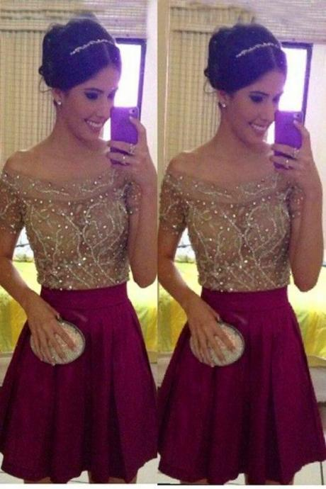 Prom Dresses,Prom Dress,Beaded Prom Dress,Off The Shoulder Prom Dress,Mini Prom Dress,Fashion Homecoming Dress,Sexy Party Dress, New Style Evening Dress