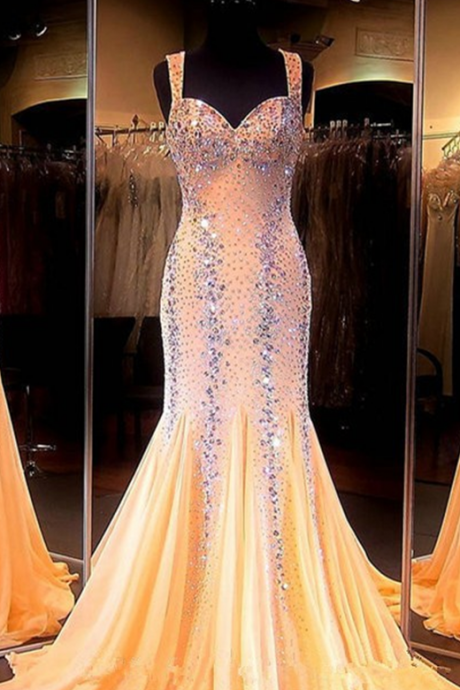 Prom Dress,Modest Prom Dress,Mermaid Prom Dresses Sweetheart Sleeveless Backless Sweep Train Chiffon with Crystal Long Formal Dress Beaded Party Dresses