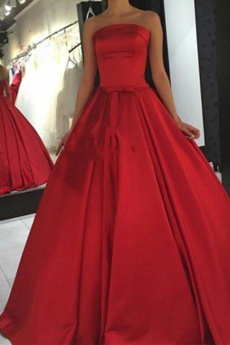 Strapless Prom Dress,Red Prom Dresses,Long Evening Dress