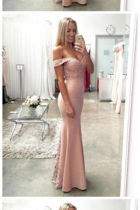 Pink Lace Satin Mermaid Prom Dress Prom Dresses,Evening Dress,bridesmaid dress