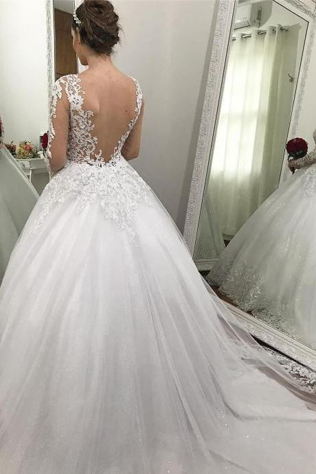 Appliques Lace Wedding Dress, Sexy Mermaid Wedding Dresses, Tulle Ball Gown Wedding Dress