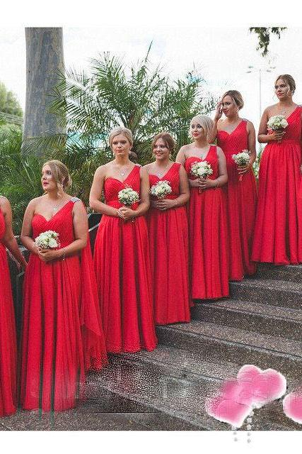 Red Bridesmaid Dresses Cheap Sweetheart One Shoulder Bridesmaid Dress