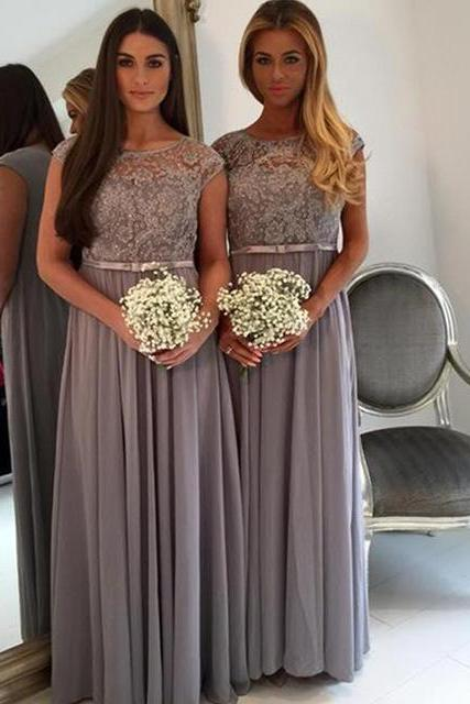 Cap sleeve bridesmaid dress, grey bridesmaid dress, long bridesmaid dress,